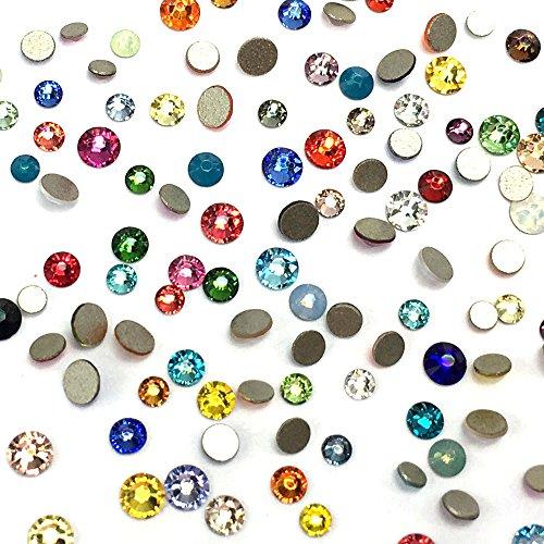 Assorted Mix Colors Colorful 2058 Swarovski Crystal Nail Art Tiny Small Mixed Sizes ss5 ss7 ss9 Flatbacks No Hotfix Rhinestones