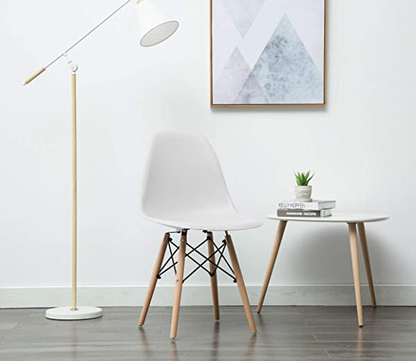 Porthos Home BLF001B WHT April Mid Century Dining Crafted From Molded Plastic With Eiffel Inspired Birch Wood Legs Also As A Side Chair For Any Room In The House Or Office One Size White