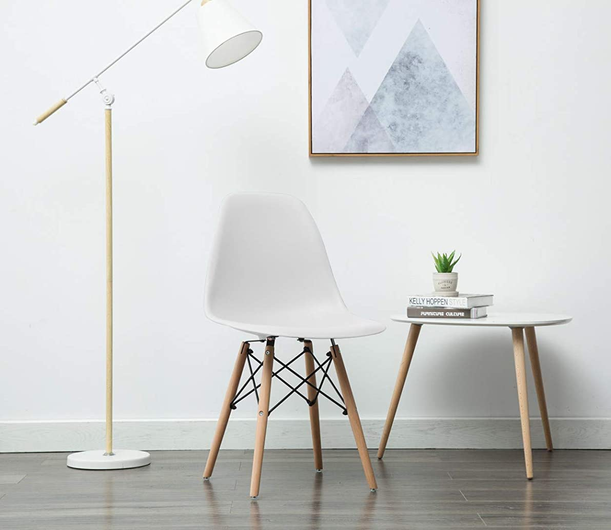 Porthos Home BLF001B WHT April Mid-Century Dining Crafted from Molded Plastic with Eiffel-Inspired Birch Wood Legs, Also As A Side Chair for Any Room in The House Or Office, One Size, White