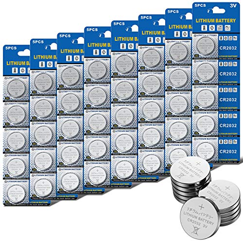 JOOBEF CR2032 Lithium 3V Battery, Electronic Coin Cell Button for Toys Calculators Watches(40 Pcs)