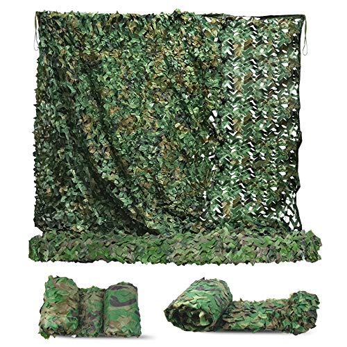 Sposuit Camo Net Camouflage Netting 10 x 10ft - Camouflage Military Trap Nets, Covering Hunting Shooting Blind, Party Backdrop Decoratio