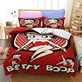 dreambeading Betty Boop Bedding Duvet Cover Set for Girls Women,Cute Sexy Girl Comforter Cover,3 Piece Bedroom Cover Set(1 Duvet Cover +2 Pillowcases Queen Size