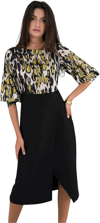 Dressbarn Women's Black Leopard Print 2-in-1 Pencil Midi Dress