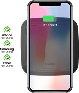 ZENS Wireless Charging Pad - Single Qi Charger Pad with 15 Watt Power Output - Supports Apple iPhone and Samsung Galaxy Fast Charge -Includes AC/DC Adapter - Black