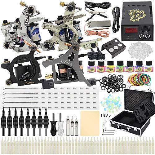 Complete Tattoo Kit - Yuelong Tattoo Machine Kits 4 Coils Tattoo Guns with Power Supply Foot Pedal Pigment Inks Tattoo Needles Tips Grips Tattoo Accessices Tattoo Supplies for Tattoo Artists (4 guns)