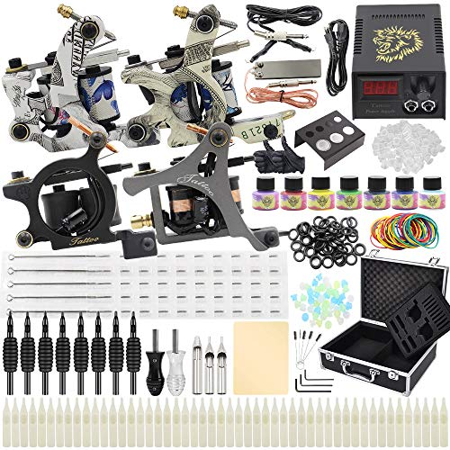 Complete Tattoo Kit - Yuelong Tattoo Machine Kits 4 Coils Tattoo Guns with Power Supply Foot Pedal Pigment Inks Tattoo Needles Tips Grips Tattoo Accessices Tattoo Supplies for Tattoo Artists (4 guns)
