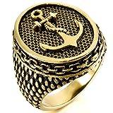 MunkiMix Acero Inoxidable Anillo Ring Oro Dorado Tono Negro Ancla Náutico Talla Tamaño 32 Hombre