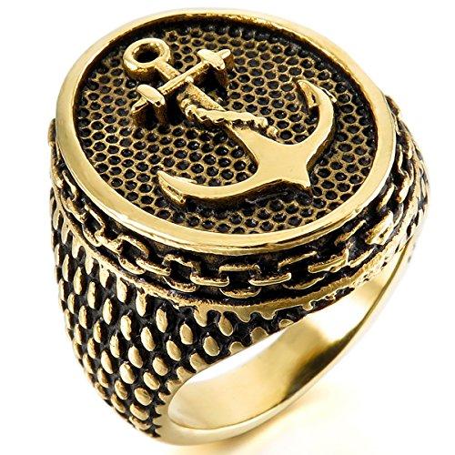 MunkiMix Acero Inoxidable Anillo Ring Oro Dorado Tono Negro Ancla Náutico Talla Tamaño 20 Hombre