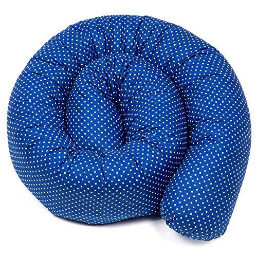 Bettschlange Puckschnecke Nestchenschlange für baby Bettrolle bettumrandung Babybettschlange Größe und Farben zum Wahl (Marineblauer mit weißen Tupfen, 150 cm)