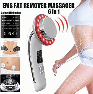 Fat Remover Massager Machine 6 in 1,RAINSUNG EMS Sliming Massager for Weight Loss Sonic Blue and Red Light Skin Tightening Device for Arm Leg Stomach-White