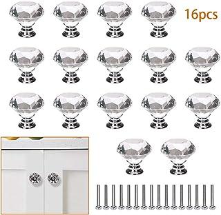 ManLee 16pcs Tiradores de Cristal 40mm Pomos y Tiradores de Muebles Pomos Puertas Perilla con Tornillos para Armarios Cajones Cocina Gabinetes Aparador Forma de Diamante
