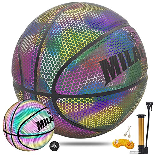 MILACHIC Holographic Reflective Glowing Basketball IndoorOutdoor Street Light up Basket Ball with Pump Official Size 7 295 inches MultiColor Glow Basketball Gifts for Boys Girls Men