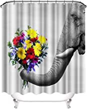 VividHome Fabric Elephant Shower Curtains Elephant Love Flowers Design Waterproof Decorative Bathroom Curtain for Indoor Outdoor, 72×72 Inches