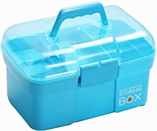 "Sunxenze 11 ""Clear Plastic Storage Box / جعبه کمک اولیه خانوادگی / جعبه ابزار ، سازنده چند منظوره با سینی متحرک ، کیف قابل حمل قابل حمل برای صنایع دستی و لوازم آرایشی (آبی روشن)"