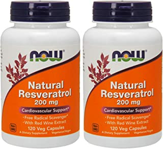 NOW Foods Natural Resveratrol, 200mg, 120 Vcaps (Pack of 2)