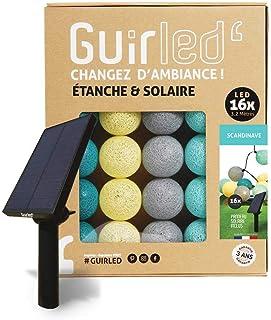 Guirlande d'extérieur boules lumineuses Guinguette LED - Étanche IP65 - Panneau solaire haut rendement - ON/OFF automatiqu...