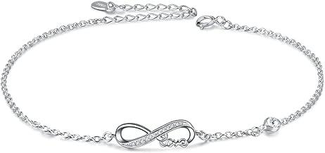 AOBOCO 925 Sterling Silver Infinity Anklet Bracelet for Women Girls Forever Love Charm Adjustable Anklet Foot Bracelets Gift for Her,Crystals from Swarovski