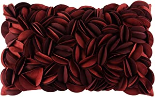King Rose Handmade 3D Flower Soft Home Decorative Throw Pillow Case Rectangle Cushion Cover for Sofa Couch Chair Bed 12 x 20 Inches Solid Suede Wine Red
