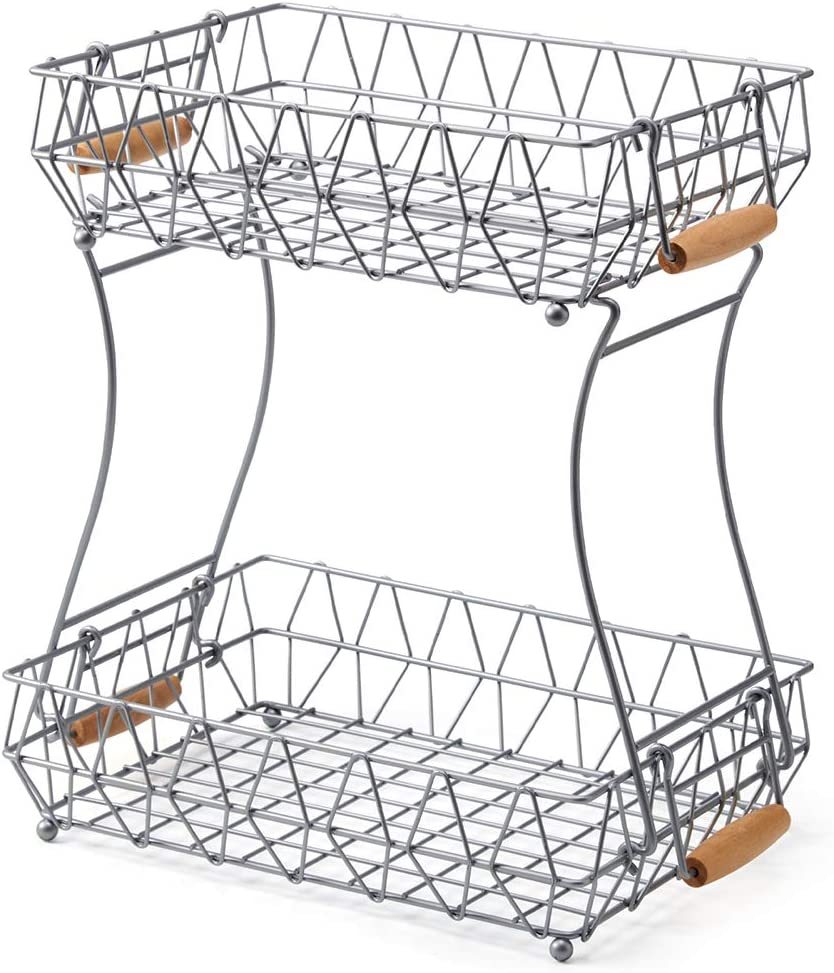 EZOWare 2-Tier Fruit 2021 spring and summer new Basket Stand Doubl with Detachable Handles Max 61% OFF