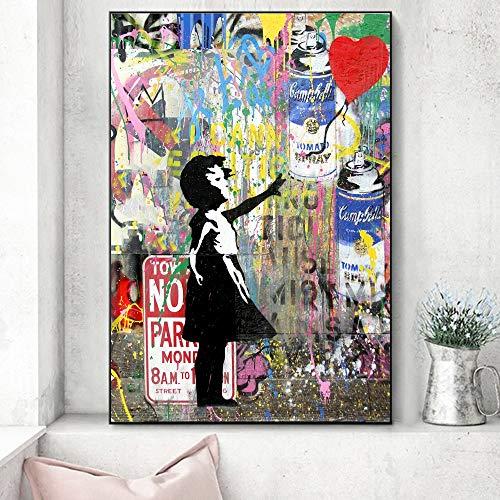 N / A Niña sosteniendo un Globo Pinturas sobre Lienzo Arte Moderno de la Calle Graffiti de la Pared Arte Impresiones en la Pared Imágenes Decoración de la habitación de los niños 60x80 cm Sin Marco