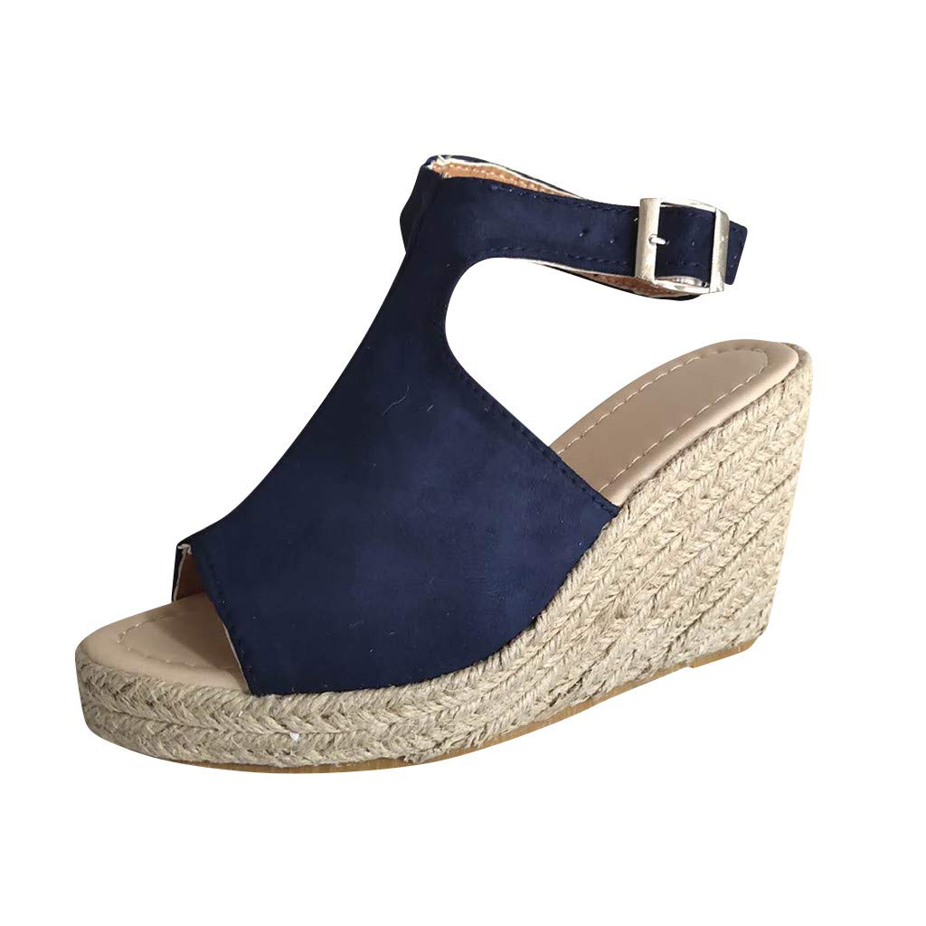 Anglewolf Women Wedge Sandals Leather