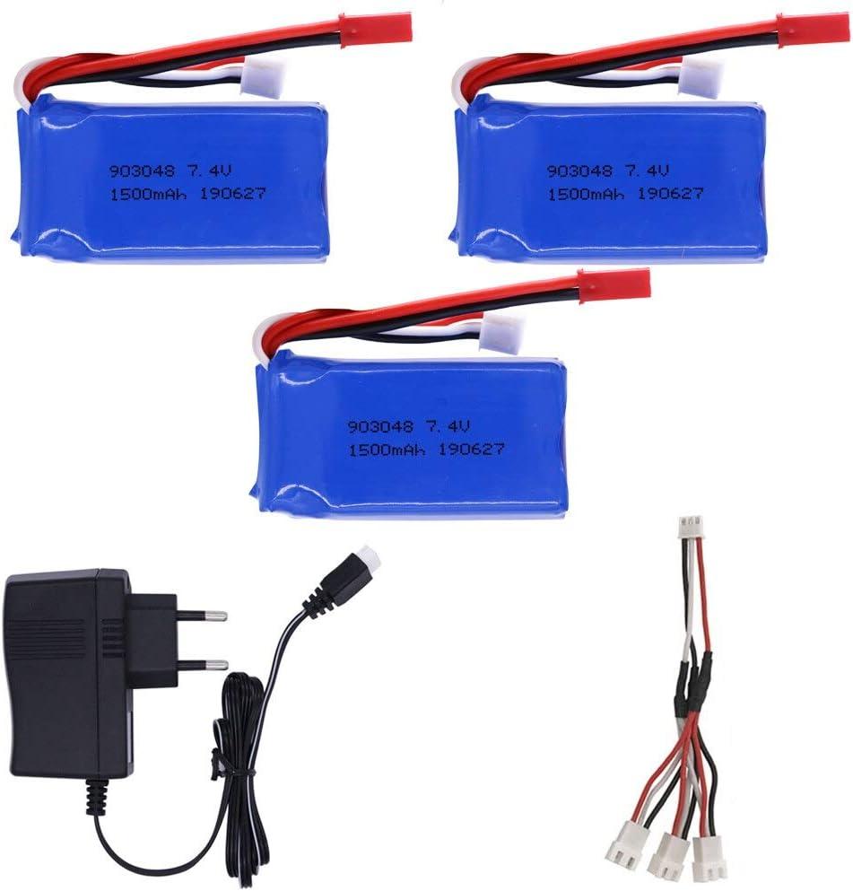 N/V Batería LiPo de 7,4 V 1500 mah 903480 con Cargador para Wltoys V353 A949 A959 A969 A979 k929 batería de Drone para Coches RC helicóptero Barco 3BEUC