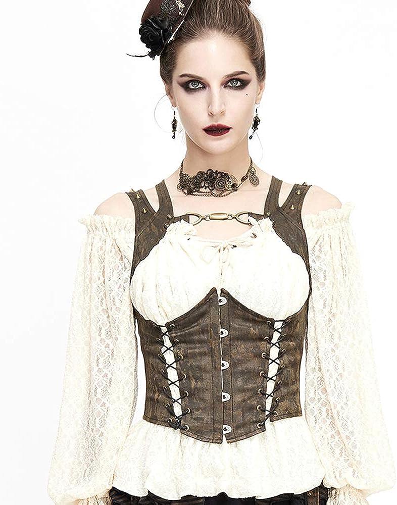 Steampunk Tank Tops for Women, Rivet Bandage Suit Vest Vintage Tight Corset Waistcoat