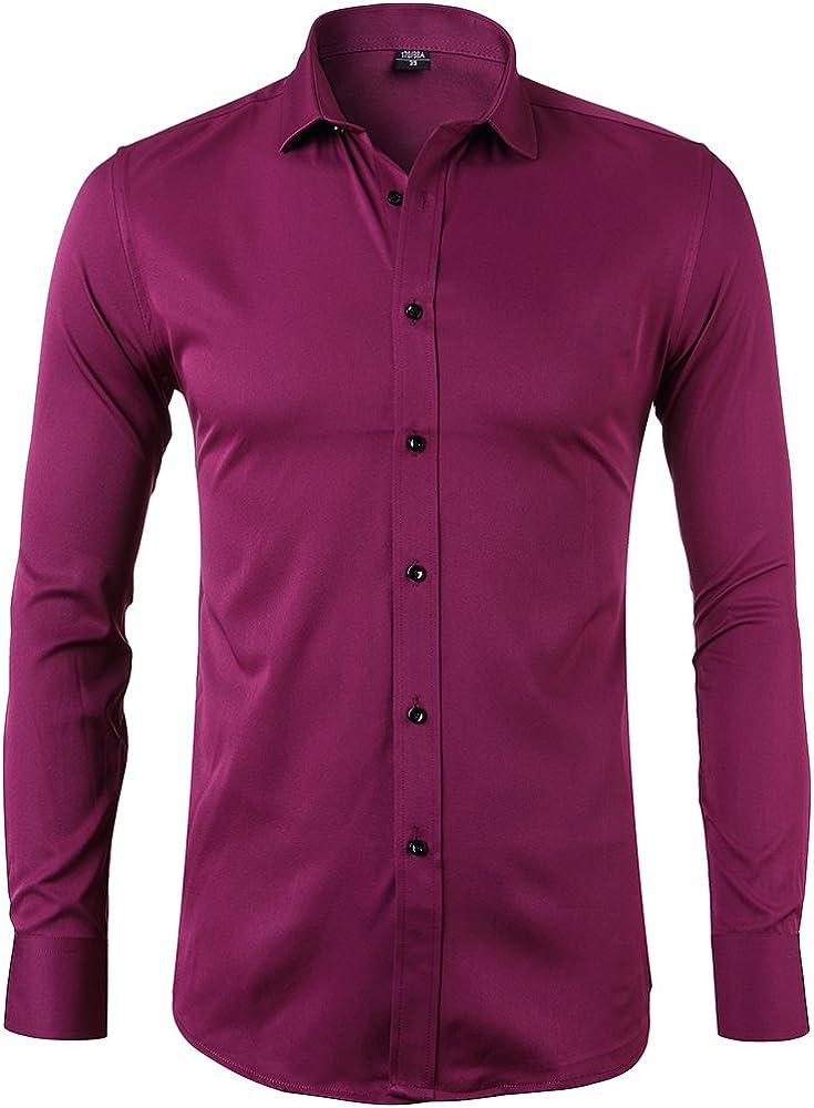 Harrms camicia elastica da uomo maniche lunghe 40% tencel 35% cotone 25% bambú fibra 2-723/ZangQing