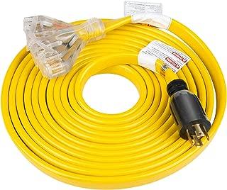 25 Feet Heavy Duty Generator Extension Cord,Generator Locking cord,NEMA L14-30P/Four 5-20R, 4 Prong 10 Gauge Flat Flexible Generator Cable, 30Amp 7500 Watts UL Listed Yodotek