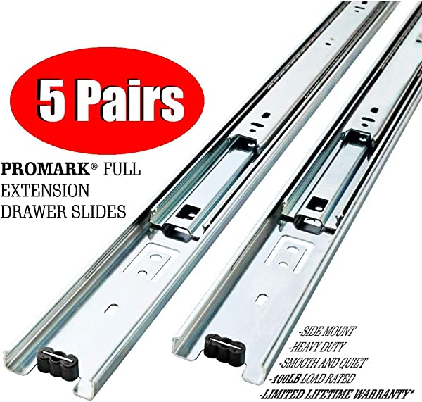 Promark Full Extension Drawer Slide 5 Pack 28 Inches 5 Pack