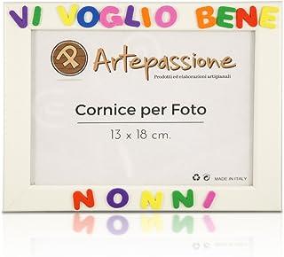 Cornici per foto in legno con la scritta Vi Voglio Bene Nonni, da appoggiare o appendere, misura 13x18 cm Bianca. Ideale p...