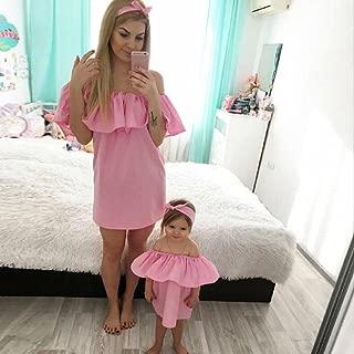 WensLTD Family Matching Clothes Mom&Me Summer Off Shoulder Princess Dress