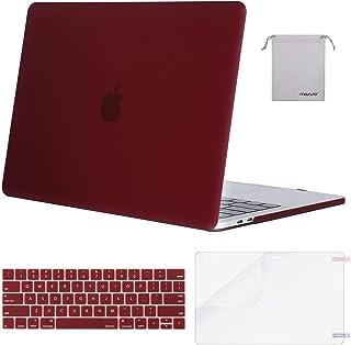 MOSISO Funda Dura Compatible con 2019 2018 2017 2016 MacBook Pro 13 A2159 A1989 A1706 A1708, Carcasa Rígido&Cubierta de Teclado (USA Layout)&Protector de Pantalla&Bolsa de Accesorios, Marsala Rojo