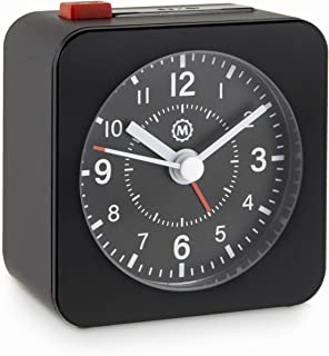 Marathon CL030065BK-BK2 Mini Travel Alarm Clock. No Ticking, Auto Back Light and Snooze Function. Color-Black Case/Black Dial