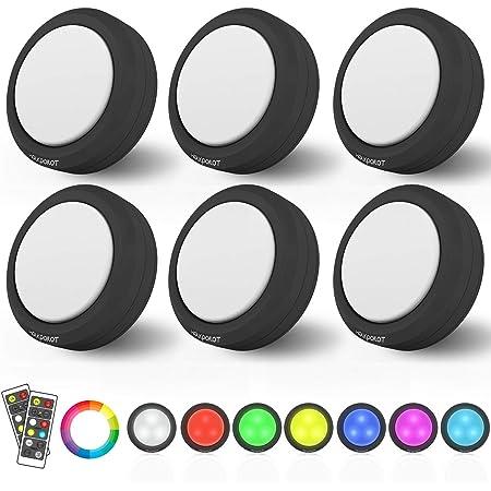 Color Changing Puck Lights,RGB Led Stick On Lights HOLKPOILOT LED ...