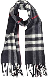 Classic Cashmere Scarf in Check - Navy