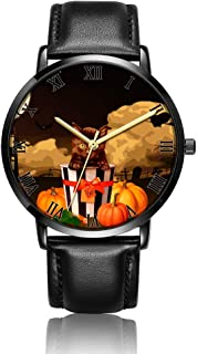 Customized Cactus Heart Wrist Watch, Black Leather Watch Band Black Dial Plate Fashionable Wrist Watch for Women or Men