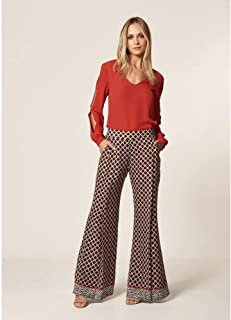 Calça Pantalona Estampa Gravataria Zebra