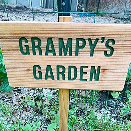 PAPA'S Garden Sign, Personalized Garden, Cedar Wood Sign: Hand Routed, Custom Name, Gift for...