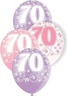 """Unique Party 70 Latex Balloons, Pearl Pink, Pearl Lavendar and Pearl White, 30cm/12"""", Pack of 6"""