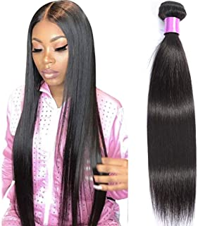 AUTTO Hair Brazilian Virgin Hair Straight Hair One Bundle 20inch 100% Unprocessed Virgin Human Hair Extension Weave Weft Natural Color (100+/-5g)/bundle Can be Dyed and Bleached