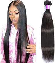 AUTTO Hair Brazilian Virgin Hair Straight Hair One Bundle 16inch 100% Unprocessed Virgin Human Hair Extension Weave Weft Natural Color (100+/-5g)/bundle Can be Dyed and Bleached