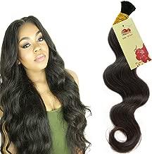 Hannah Queen Wet N Wavy Bulk hair HUMAN HAIR Micro Braiding 4 Bundle 200g Brazilian Body Wave Bulk Hair For Braiding Human Hair No Weft (18 20 22 24 Natural Black #1B)