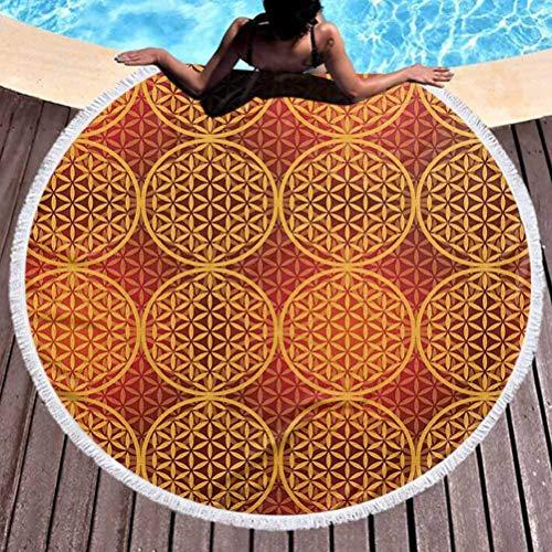 Toalla de Playa Redonda Flor de Estilo Victoriano Popular Vintage con Tonos Medievales Motivo esotérico Barroco rococó
