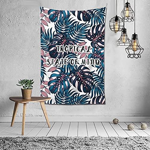 Tapiz para colgar en la pared, diseño de hojas tropicales, color azul, para dormitorio, decoración psicodélica, 60 x 40 pulgadas