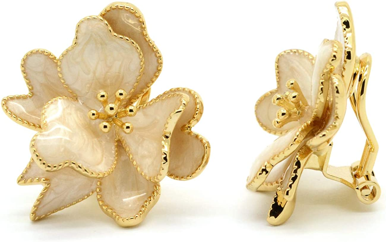 Clip On Earrings Enamel Flower Wild Plated Gold Super beauty product restock quality Ranking TOP3 top Women Fashi Rose