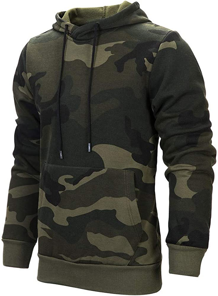 Mens Hoodies Pullover Casual Camouflage Sweatshirt Loose Long Sleeve Warm Hoodie Workout Sports Sweater Tops