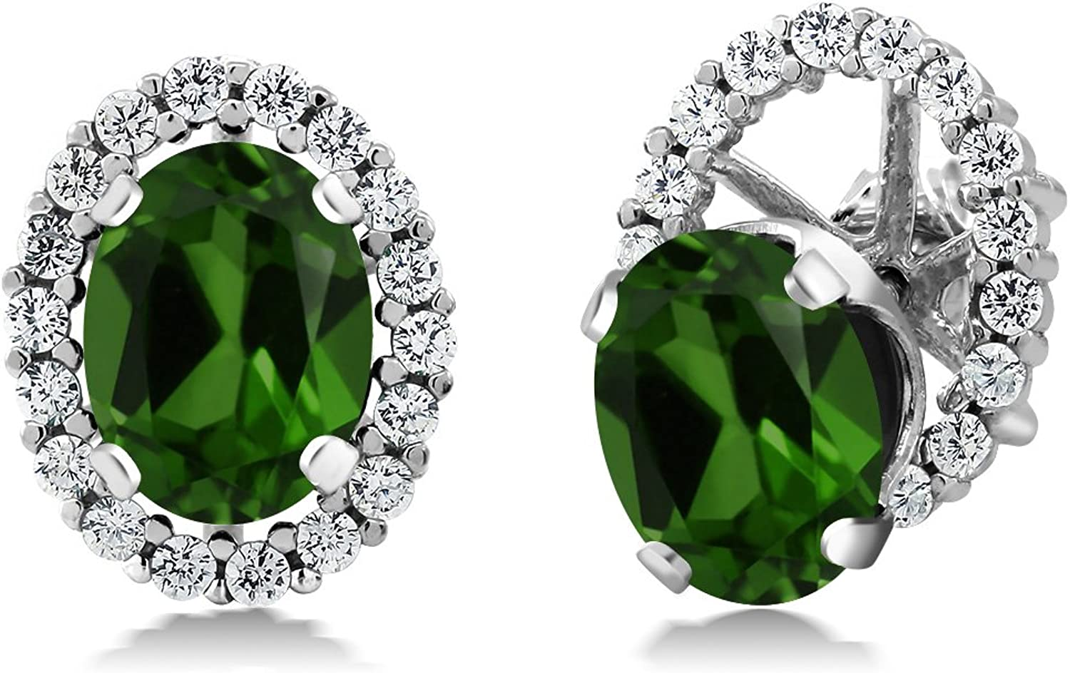 2.92 Ct Oval Green Chrome Diopside 925 Sterling Silver Earrings