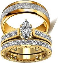 wedding ring set Two Rings His Hers Couples Rings Women's 10k Yellow Gold Filled White CZ Wedding Engagement Ring Bridal Sets & Men's Titanium Wedding Band