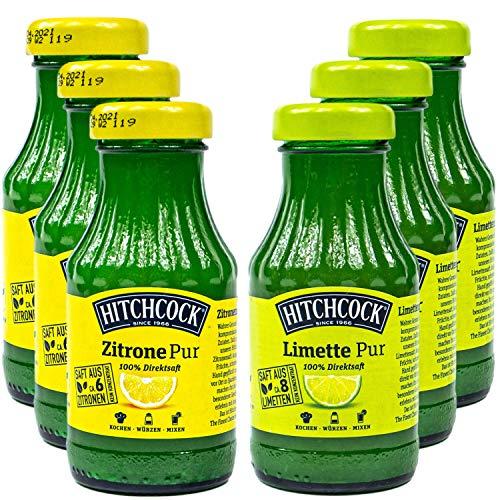 Hitchcock - 6er Mischset: Limettensaft und Zitronensaft Pur 100 % Direktsaft - Premium Limetten und Zitronen Saft in 0,2 Liter Glasflasche